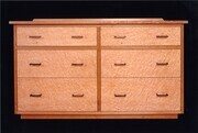 Cherry & Bird's Eye Maple Chest with Patinated Copper Handles